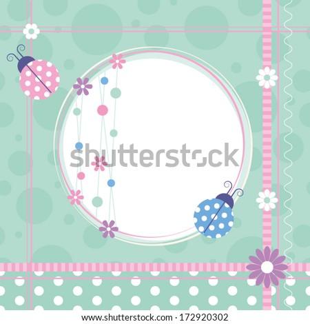 ladybugs greeting card - stock vector