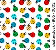 ladybugs in colors seamless pattern, abstract texture; vector art illustration - stock vector