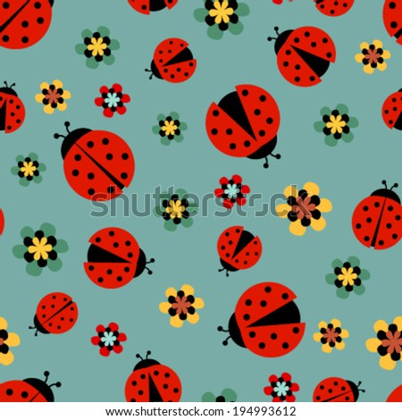 ladybugs with flowers on blue green seamless pattern - stock vector