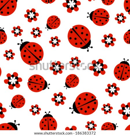ladybugs with red flowers on white seamless pattern - stock vector