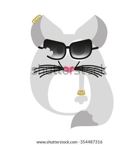 Ladylike chinchilla with sunglasses and jewelry and earrings on white background. Vector and illustration design. - stock vector