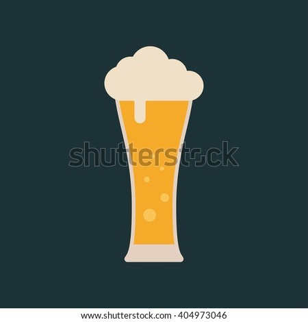 Lager beer icon. Vector beer. Glass with beer isolated on background. Pint of beer - stock vector