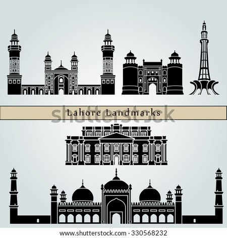 Lahore landmarks and monuments isolated on blue background in editable vector file - stock vector
