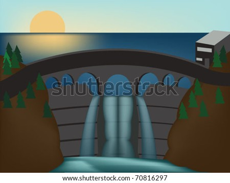 lake barrage with waterfall - stock vector