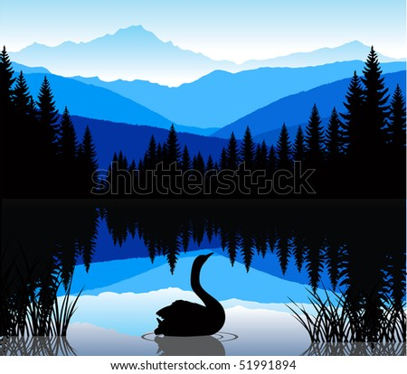 lake in mountains - stock vector