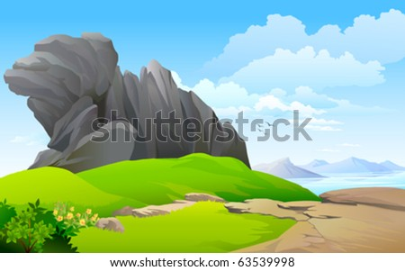 LAKE  SURROUNDED BY ROCK AND HILLS - stock vector