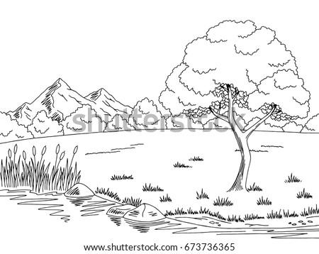 lake tree graphic black white landscape stock vector