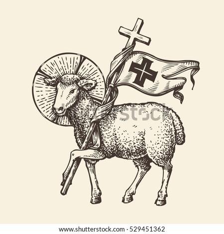 lamb sheep holding cross religious symbol stock vector