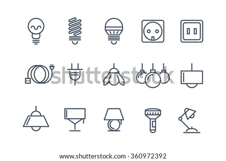 Lamp and bulbs line icons set. Electrical symbols, energy electric lightbulb, fluorescent or halogen vector illustration - stock vector