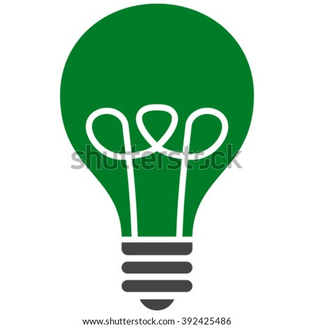 Lamp Bulb vector icon. Lamp Bulb icon symbol. Lamp Bulb icon image. Lamp Bulb icon picture. Lamp Bulb pictogram. Flat green and gray lamp bulb icon. Isolated lamp bulb icon graphic. - stock vector