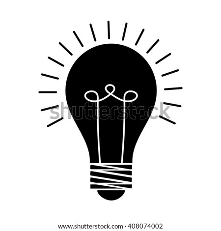 Lamp emitting light. Lamp vector. Black lamp with white spiral. Lamp on a white background. - stock vector