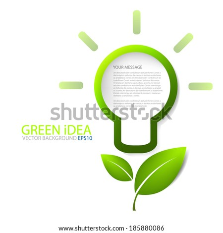 Lamp for light icon for green idea save the world background vector board for text and message modern website design - stock vector