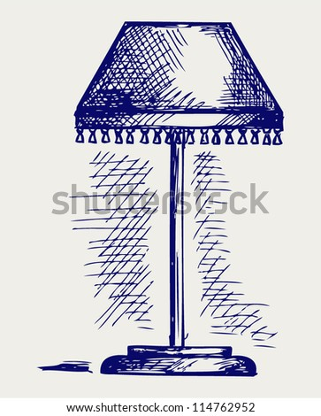 Lamp for the bedroom. Doodle style - stock vector