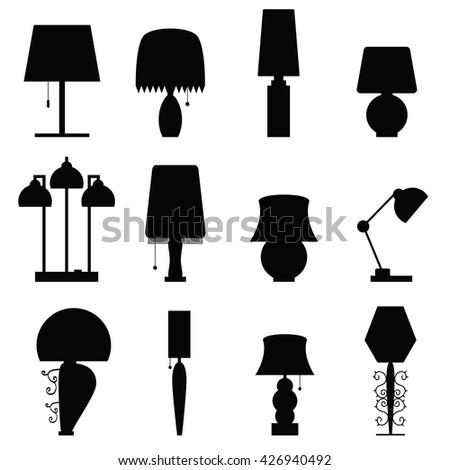 lamp furniture set black illustration - stock vector
