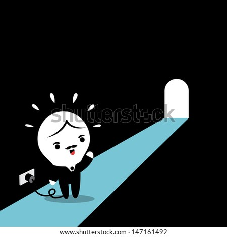 Lamp-head Businessman pave the way for solution - stock vector