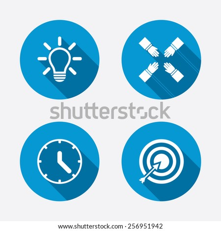Lamp idea and clock time icons. Target aim sign. Darts board with arrow. Teamwork symbol. Circle concept web buttons. Vector - stock vector