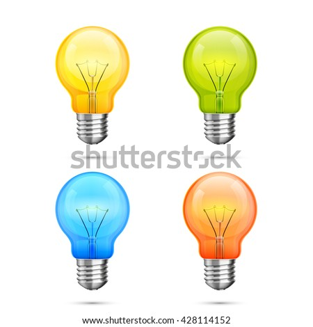 Lamp idea icon set, object color light on a white background, Vector illustration - stock vector