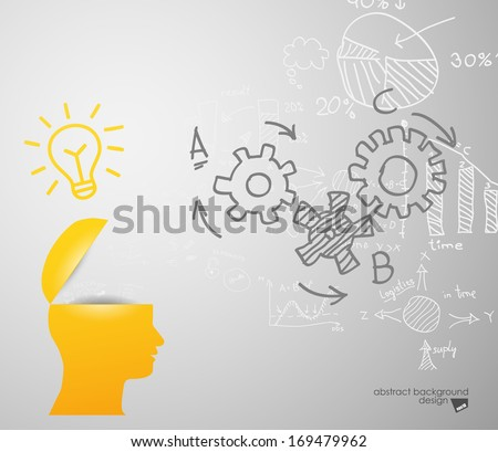 lamp in sIlhouette of a head - stock vector