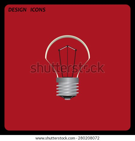 lamp, incandescent bulb. icon. vector design. Flat design style  - stock vector