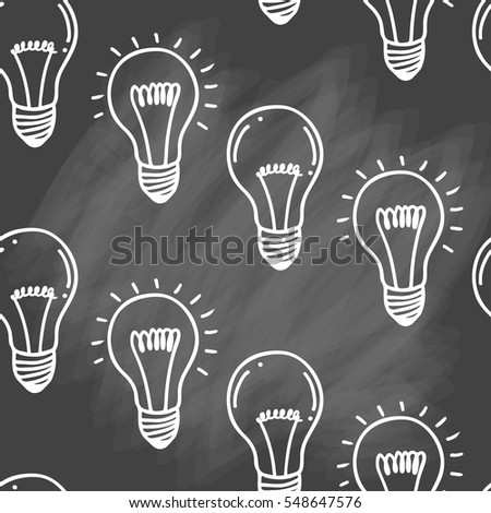 Lamp light bulb hand drawn seamless pattern design. Light bulbs icon.Idea, inspiration, innovation. Isolated. Vector illustration.  Idea symbol. Vector sketch. Hand-drawn doodle sign. Chalk background