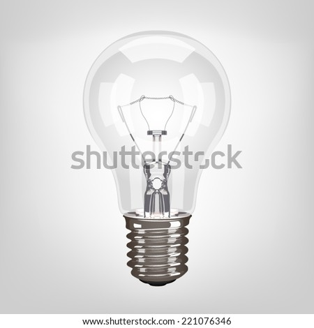Lamp light bulb realistic vector illustration isolated on white background.