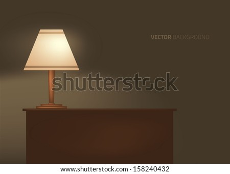 lamp on the table. Vector illustration.