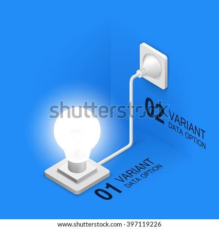 Lamp plugged in, Isometric idea lamp, Creative idea, Vector illustration - stock vector