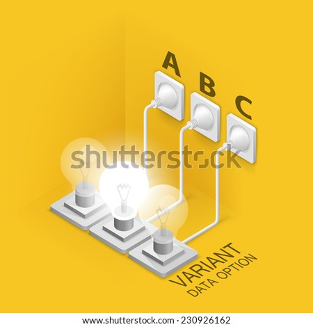 Lamp plugged in. Vector illustration - stock vector