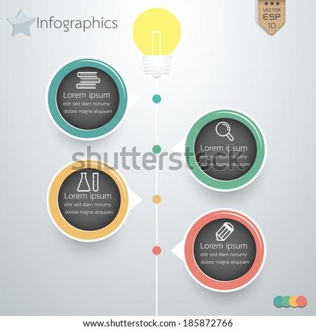 Lamp science business idea infographics modern design. Vector illustration. - stock vector