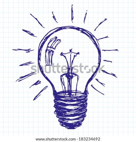 Lamp vector idea sketch background drawn with pen sketch - stock vector
