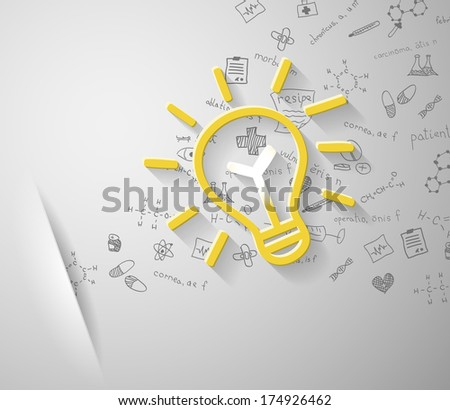 lamp with medical icons - stock vector