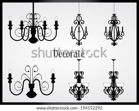 Lamps and chandeliers vector - stock vector