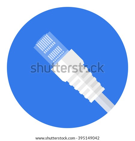 LAN cable network internet icon vector. Ethernet connector with cable symbol. Wire cable computer icon. Ethernet cable icon - stock vector