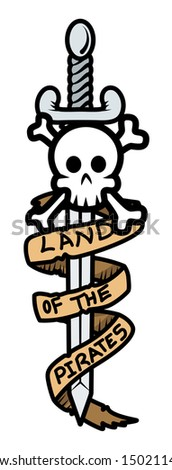 Land of The Pirates Banner Sword and Skull - Vector Cartoon Illustration - stock vector