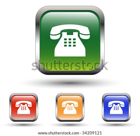 Land Phone Sign Icons - stock vector