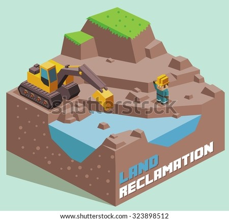 Land Reclamation expanding. Isometric vector illustration - stock vector