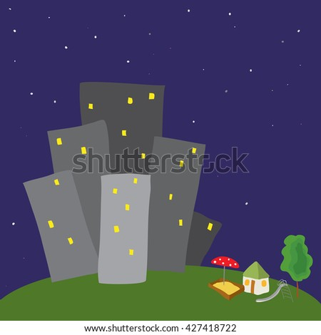 land with a house, a tree and a playground in the background of of conventional gray houses / small house not like everything - stock vector