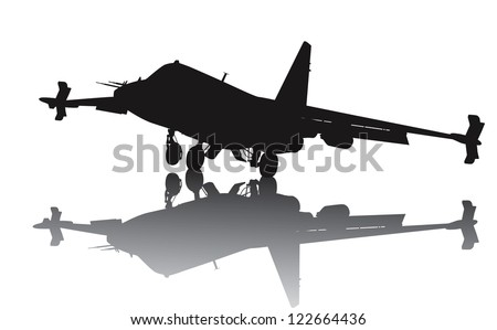 Landing military aircraft vector silhouette with reflection - stock vector