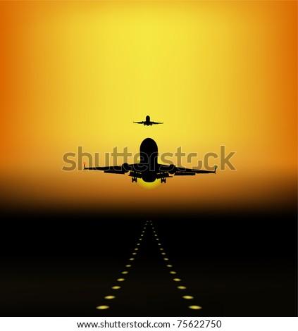 landing of aircraft at sunset, vector - stock vector