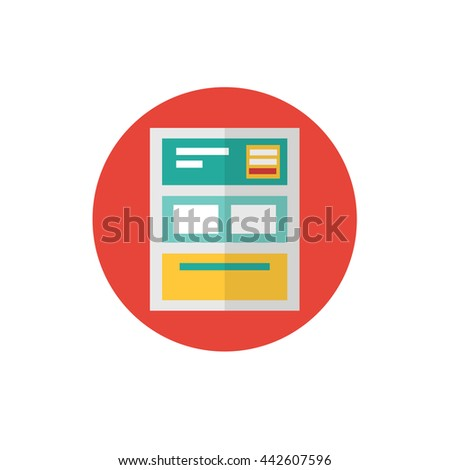 Landing Page Icon -flat vector illustration. Landing and web site symbol on red background - round color icon. Homepage concept. For website graphics, mobile apps, web page layout design. - stock vector