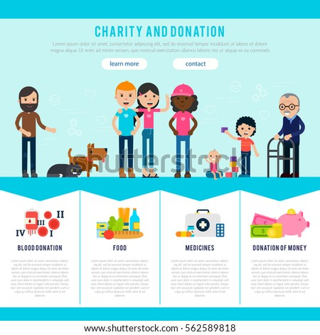 Landing Page Template Website Charity Foundation Stock Vector HD ...
