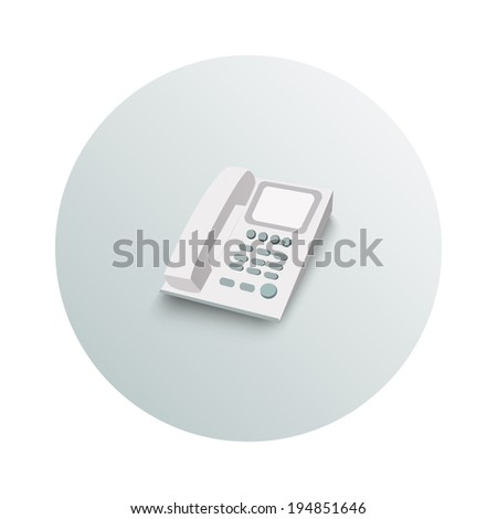 Landline phone business concept on white background. Office and business work elements - stock vector