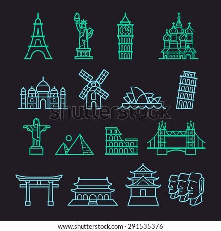 Landmark Icons. Liberty, Pisa, Eiffel, Big Ben, Taj Mahal, Saint Basil, The Redeemer, Windmill, Opera House, Piramid, Colosseum, London Bridge, Fushimi Inari, Forbidden City, Osaka Castle, Moai. - stock vector