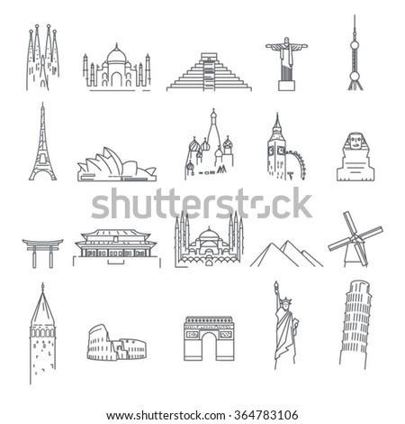 Landmark icons on white background  - stock vector