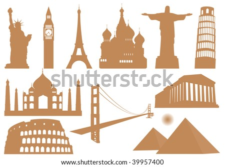 Landmark Icons. Vector illustration - stock vector