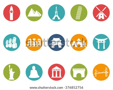landmark round button icons set - stock vector