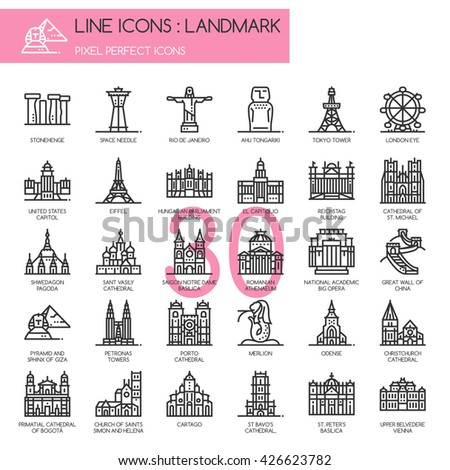 Landmark , Thin Line and Pixel Perfect Icons - stock vector