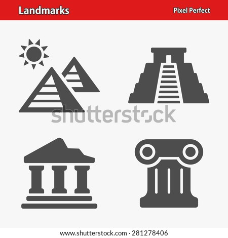 Landmarks Icons. Professional, pixel perfect icons optimized for both large and small resolutions. EPS 8 format. - stock vector