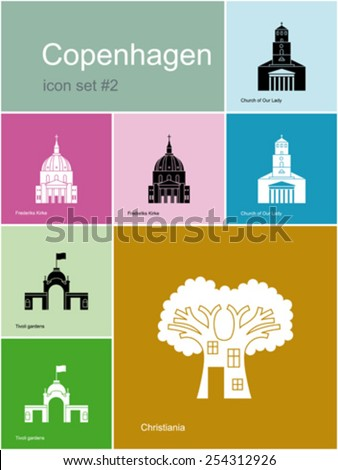 Landmarks of Copenhagen. Set of color icons in Metro style. Editable vector illustration. - stock vector