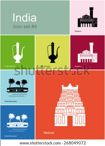 Landmarks of India. Set of color icons in Metro style. Editable vector illustration. - stock vector